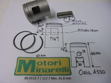 62.0115.7 / 117.7 Pist.assy 41.0mm Min.2/3/4 or 6 speed etc.new