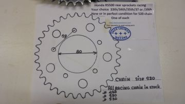 Sprocket rearwh. Honda RS500 racing your choice 33/34/35/37 or 39th
