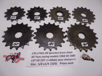 170-17461-00 Sprocket front chain Yamaha road racing 1968 - 1980 13T till 19T