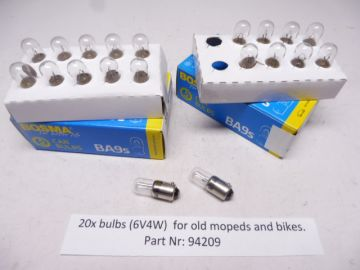 94209 Bulb, pilot BA9S (6V5W) 2x box of 10 piches many old bikes and mopeds