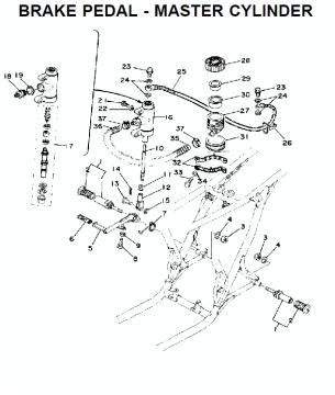 TZ250 C-D-E / TZ350 C-D-E rempedaal - Master cilinder